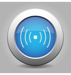 Blue metal button with sound or vibration vector