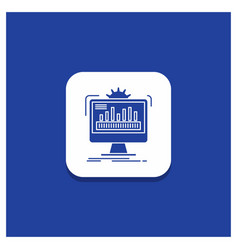 Blue round button for dashboard admin monitor vector