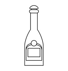 bottle champagne plastic cork outline vector image