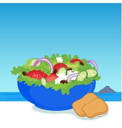 Bowl greek salad vector