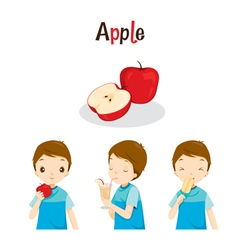 Boy With Apple Fruit Juice Ice Cream And Letters vector