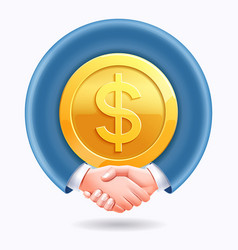 business people handshake around dollar gold coins vector image