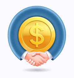 Business people handshake around dollar gold coins vector