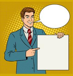 businessman holds poster pop art vector image
