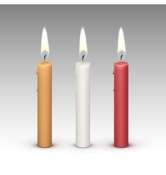 Candles Flame Fire Light Isolated on Background vector image