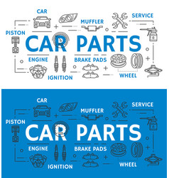 Car parts vehicle repairing line art promo poster vector