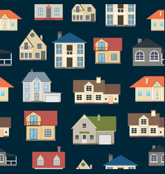 cartoon houses exterior seamless pattern vector image