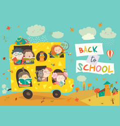 children on the way to school vector image