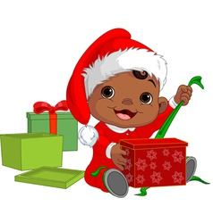 Christmas baby open gift vector image