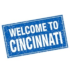 Cincinnati blue square grunge welcome to stamp vector