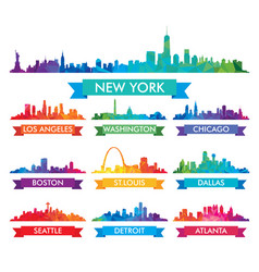 City skyline of america colorful vector