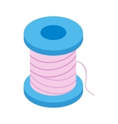 Coil with a thread 3d isometric icon vector