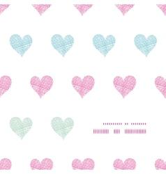 Colorful polka dot textile hearts center frame vector