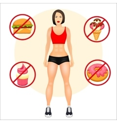 Concept with fit young woman in sportswear Useful vector image