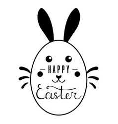 easter bunny with lettering inscription on white vector image