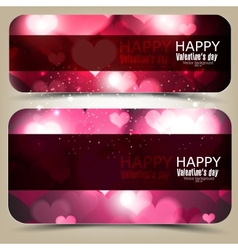 Elegant banners with hearts and place for text vector image