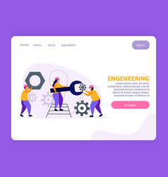 Engineering flat landing page vector