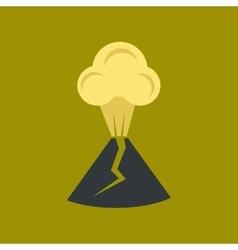 Flat icon on stylish background volcano erupting vector