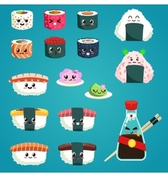 Fun sushi and sashimi japanese food with cute vector