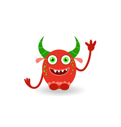 funny cartoon red horned laughing monster vector image