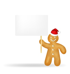 Gingerbread Man With Blank Gift Tag And Santa Hat vector image