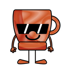 grated happy coffee cup kawaii with arms and legs vector image