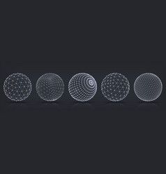 Grid spheres realistic 3d globes with abstract vector