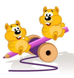 Hamsters on a swing vector