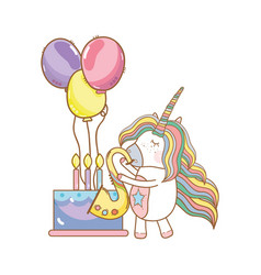 Happy birthday unicorn cartoons vector
