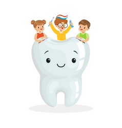 Happy kids sitting on a big smiling toorh cute vector