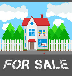 house for sale along the road part of the rural vector image