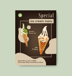 Ice cream poster design with milk pudding matcha vector