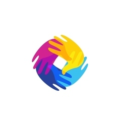 Isolated abstract colorful human hands together vector