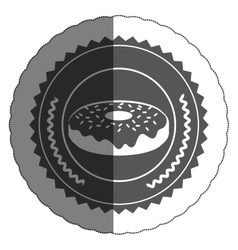 Isolated donut inside seal stamp design vector