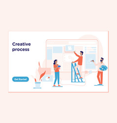 Landing page template of creative processthe vector