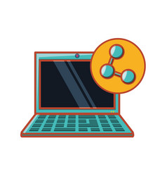 Laptop with share symbol vector