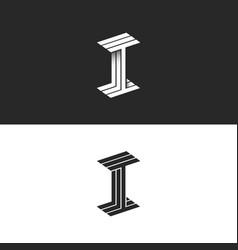 Letter i logo isometric symbol modern monogram vector