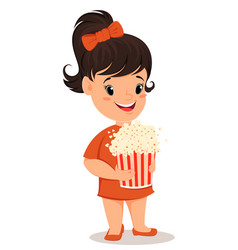 little girl with popcorn cute cartoon character vector image