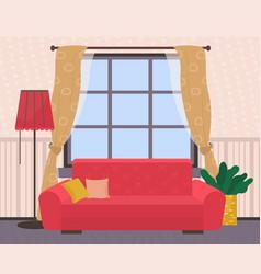 Living room sofa with cushion near window vector