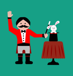 Magician with rabbit vector