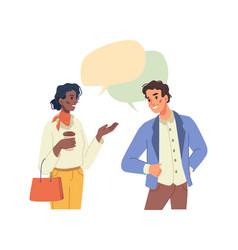 man woman multiethnic people talking speech bubble vector image