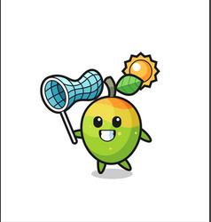 Mango mascot is catching butterfly vector