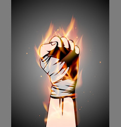 Mma or boxing burning bandage fist uplifted hand vector