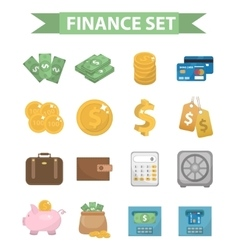 Money and Finance icons modern flat style vector