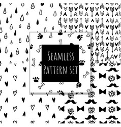 monochrome seamless pattern collection vector image