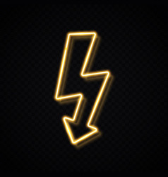 neon sign lightning bolt isolated on transparent vector image