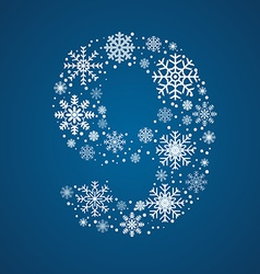 Number 9 font frosty snowflakes vector