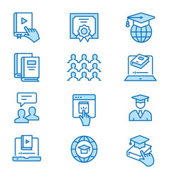 Online education flat line icons editable strokes vector