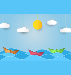origami sailing boat in waves paper art style vector image