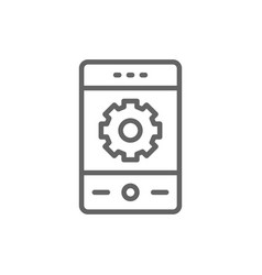 phone with gear smartphone repair mobile vector image